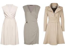 sukienka szara, sukienka biała, płaszcz ekskluzywny